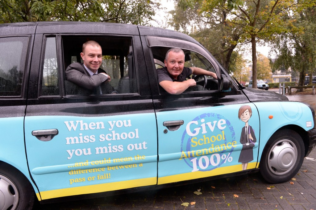 Cllr See takes a ride in a school attendance taxi
