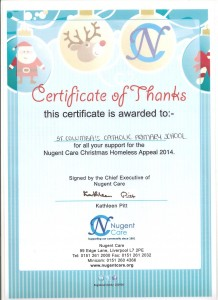 Nugent Care certificate of thanks - Assembly on Monday 15th December 2014