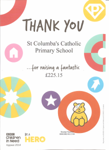 Thank you Certificate received from CHILDREN IN NEED